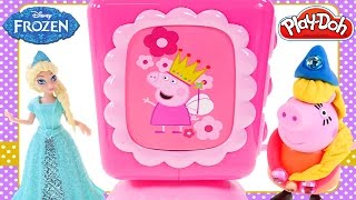 Peppa Pig Jewelry Box Princess Play Doh Peppa and Frozen Elsa Magiclip Doll Toys DCTC