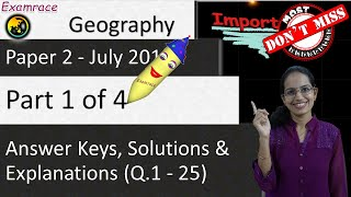 CBSE NET July 2018 Geography Paper 2 (Q.1-25): Answer Keys, Solutions & Explanations (Part 1 of 4)