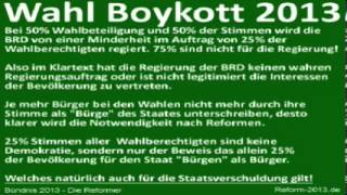 Bündnis 2013 - Die Reformer (Reform 2013) Wahlkampf/Wahlboykott