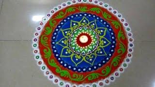 How to draw colorful free hand rangoli, Beautiful and creative rangoli design