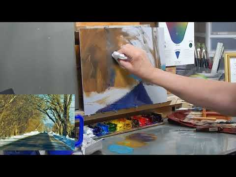 TomFisherArt 77 Oil Painting Snow Road and Shadows