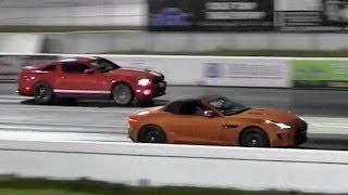 shelby gt500 v supercharged jaguar f type v8 s 1 4 mile drag race road test tv