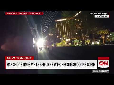 Man who was shot three times while shielding his wife during Las Vegas shooting revisits the scene