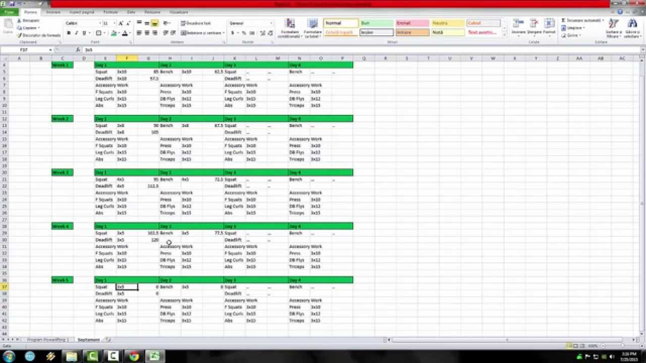 Program Powerlifting/Powerbuilding/Bodybuilding in EXCEL