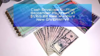 Cash Envelope Stuffing | September Paycheck #1| $1,165.00 REAL NUMBERS | Budgeting | NEW GIVEAWAY