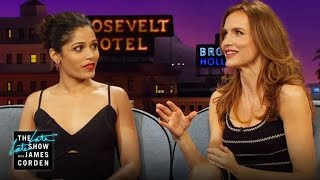 Freida Pinto, Saffron Burrows & James: a Couch of Models