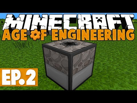 Minecraft Age of Engineering! #2 - Automatic Mining....Slowly! [Twitch VoD]