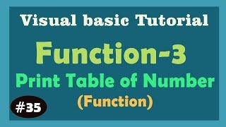 Print table of number Function Create in Visual Basic -3 | Vb6 Function | Visual basic 6.0 Tutorial