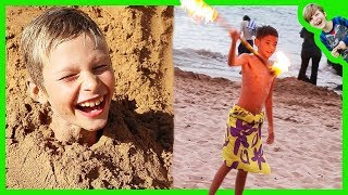 Axel Playing in The Sand + Boy Twirls Fire Knife at the Beach