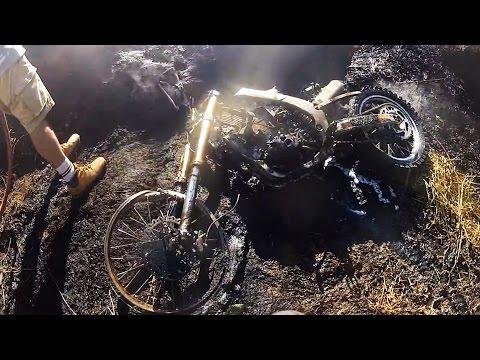 Dirt Bike Catches Fire & Burns to a Crisp!