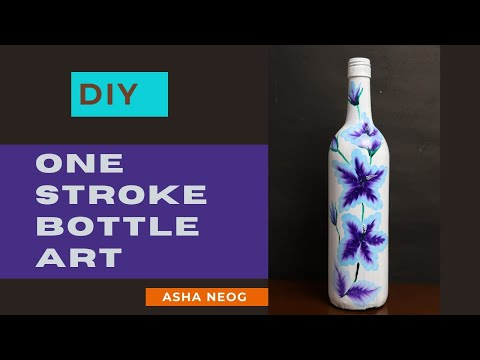 One stroke bottle painting | Stroke art on bottle | Bottle painting ideas | DIY Bottle decor