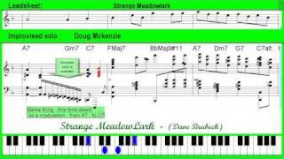 Strange Meadowlark (Dave Brubeck) - solo jazz piano lesson