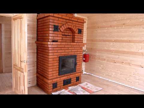 Каменная печь-камин с встроенным теплообменником. Отопление дома.