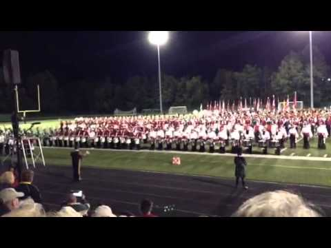 Finale of the Drum Corp show at Seagram's Stadium