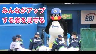 つば九郎、みんながアップする姿を見守る