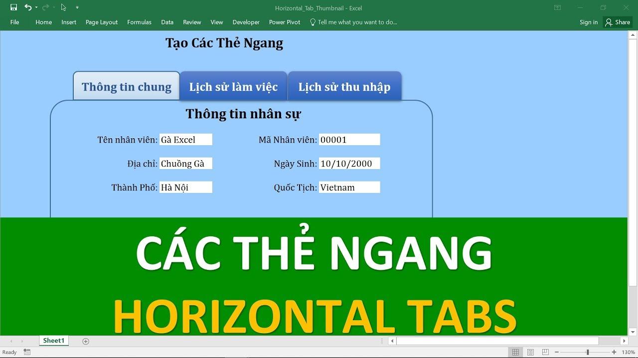 Lập trình VBA trong Excel cho người mới bắt đầu | #03 Cách tạo thẻ ngang Horizontal Tabs