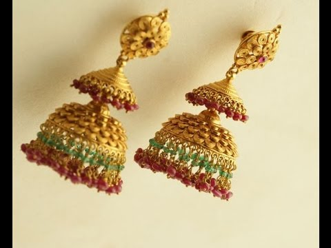 latest gold jhumkas designs youtube