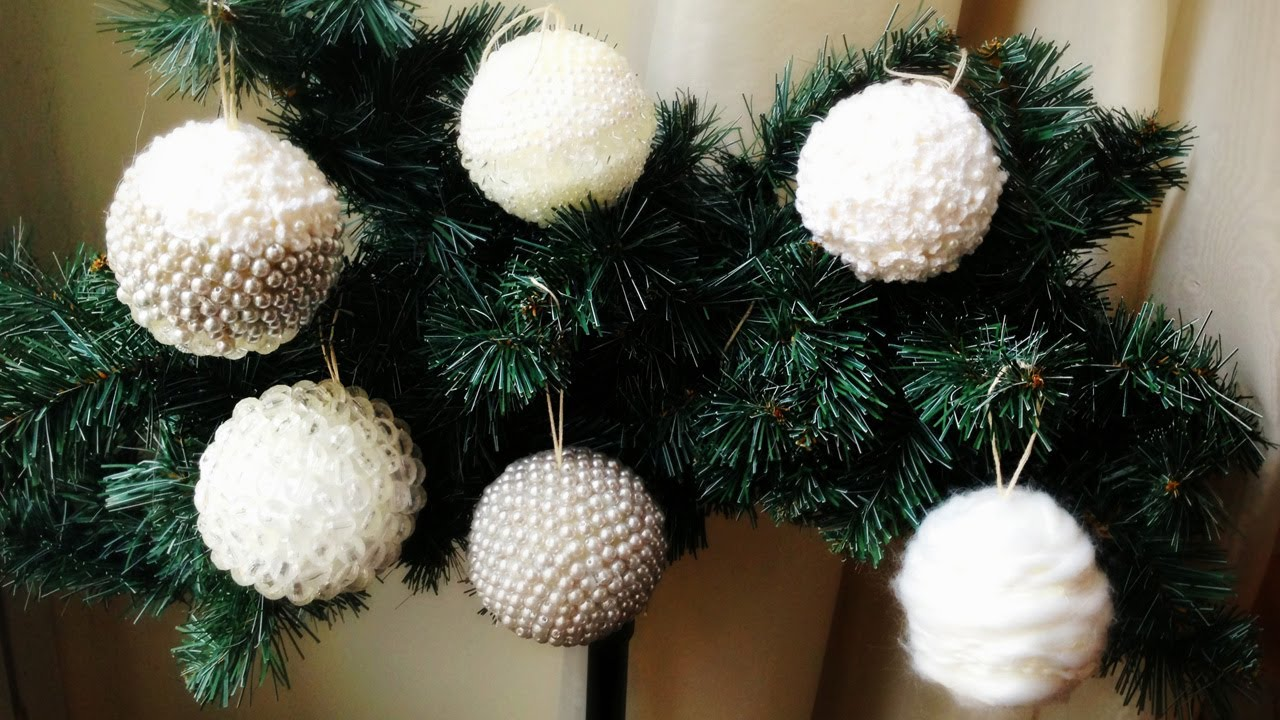 Decorazioni Natalizie Palline Polistirolo.D I Y Hand Made Christmas Decorations Palline Di Natale Decorate Fai Da Te