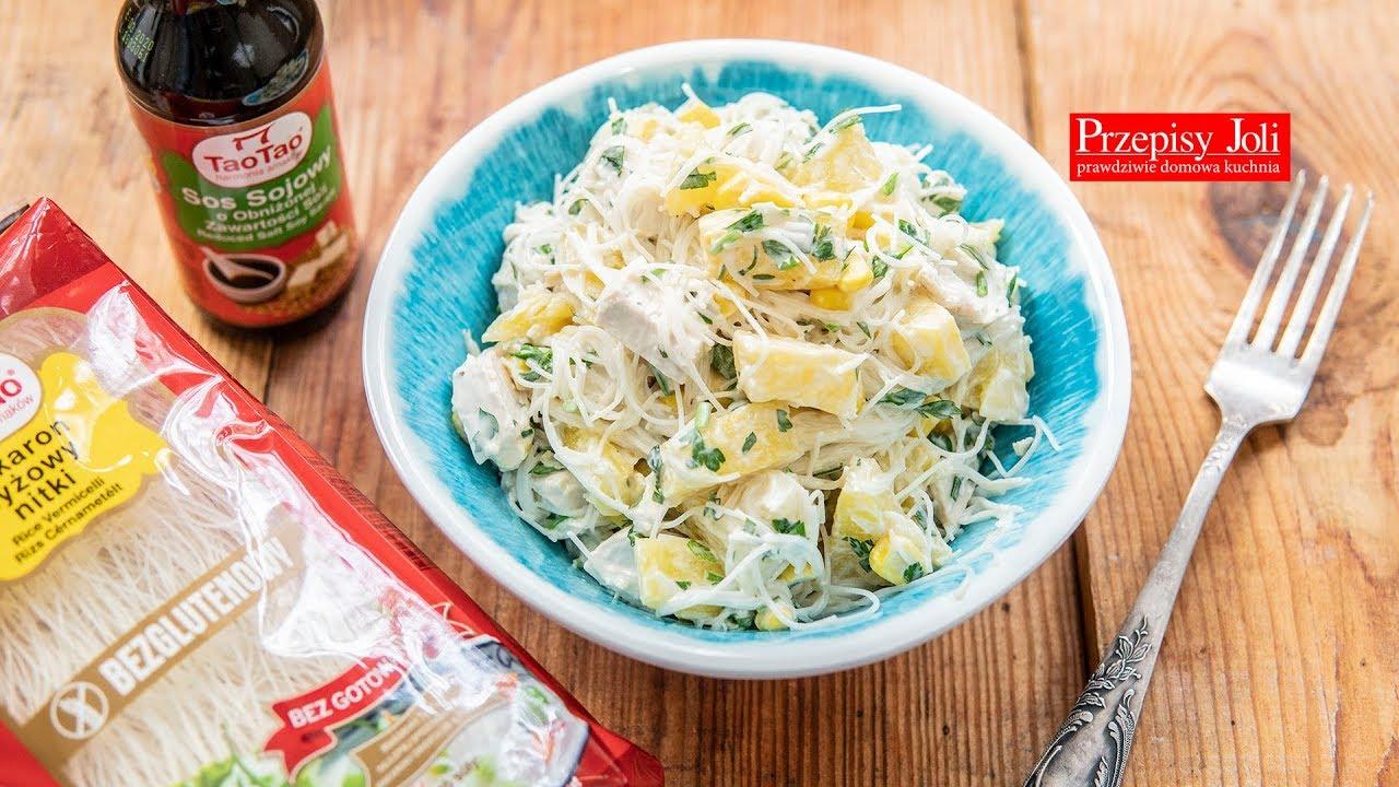 Salatka Z Kurczakiem I Makaronem Ryzowym Przepis Na Pyszna Salatke