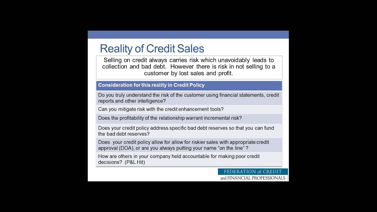 Is Commercial Debt On A Credit Report - Credit policy recognizing credit risk