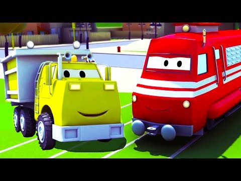 xe đổ rác - Xe lửa Troy ở thành phố xe 🚄 | Phim hoạt hình chủ đề xe hơi và xe tải xây dựng