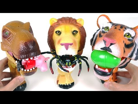 Thumbnail: There are scary guys! Dinosaur lion tiger lick insects! - DuDuPopTOY