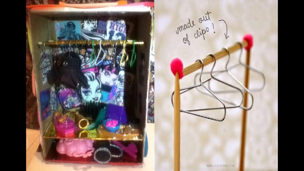 Tutorial como hacer un armario ropero y ganchos para - Como hacer un armario de carton ...