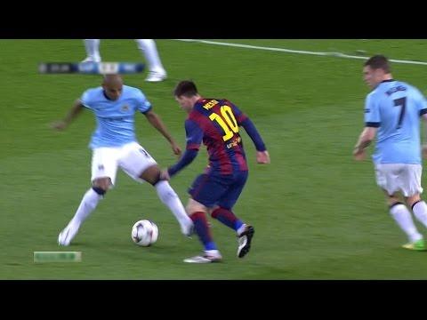 Lionel Messi Amazing Panna | Barcelona vs Manchester City 1-0 UCL 14-15 | 720p (18/03/2015)