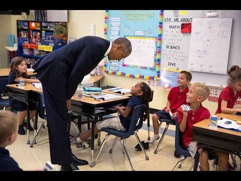 Thumbnail: President Obama Talks with First-Graders at Tinker Elementary School