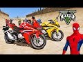 MOTOS com Homem Aranha e Her  is  Saltos na Mega Rampa com SUPER MOTOS   GTA V Mods   IR GAMES