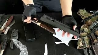 다마스커스 다용도 레저용칼 황동+흑단목핸들 아웃도어 캠…