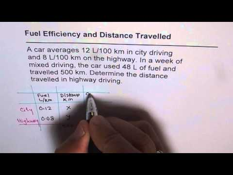 Fuel Efficiency Linear Application Word Problem