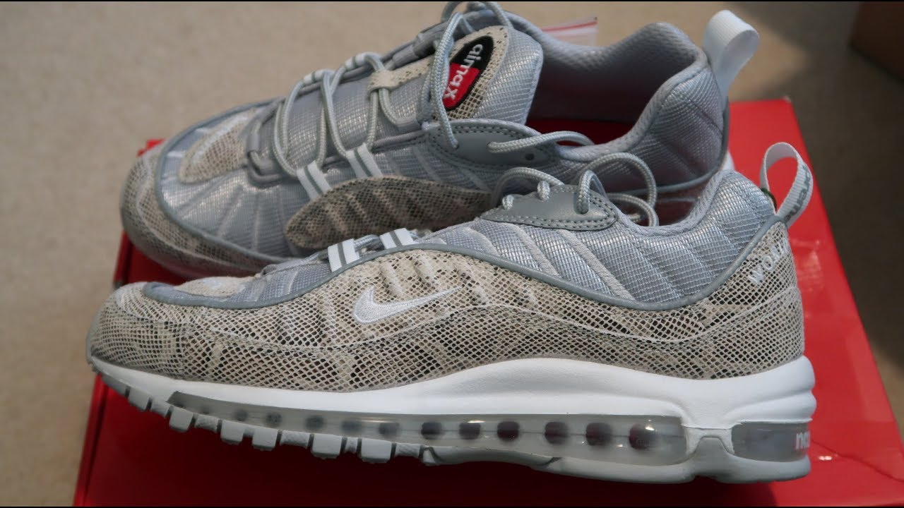 finest selection 10a3a f49a2 Supreme x Nike Air Max 98 'Snakeskin' Sneaker Unboxing