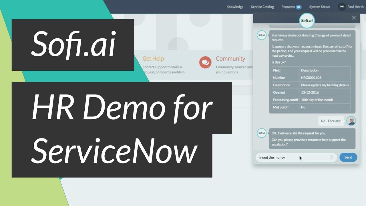 Sofi ai Self Service Intelligent Assistant for ServiceNow HR Demo