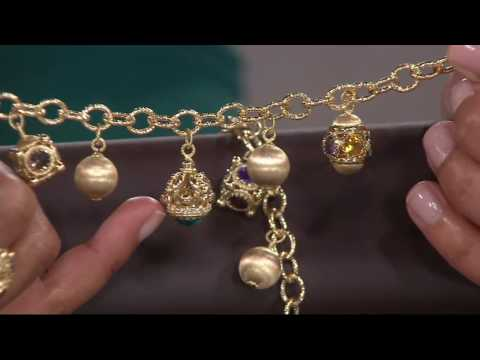 Arte d' Oro Gemstone & Satin Bead Charm Bracelet 18K Gold on QVC