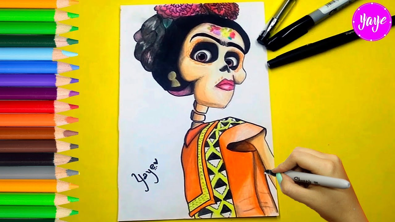 Pinturas Frida Kahlo Para Colorear: COCO-Cómo Dibujar A Frida Kahlo-How To Draw And Coloring