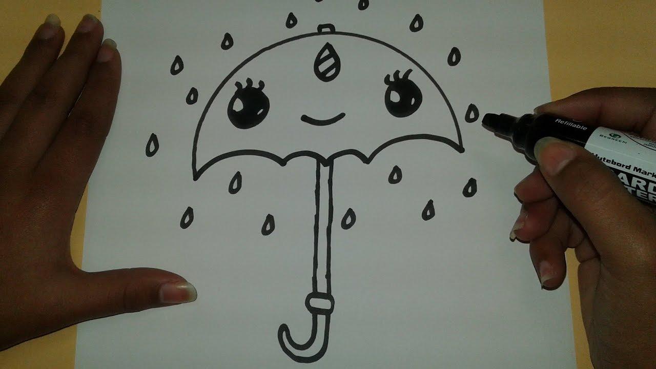 Comment dessiner un parapluie kawaii