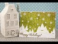 White green winter scenery Christmas card