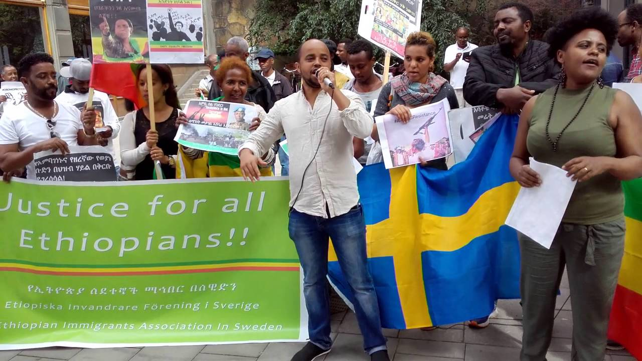 Ethiopians In Sweden Stockholm Demonstrate Infront Of Ethiopian Embassy Ethiopian Revolution
