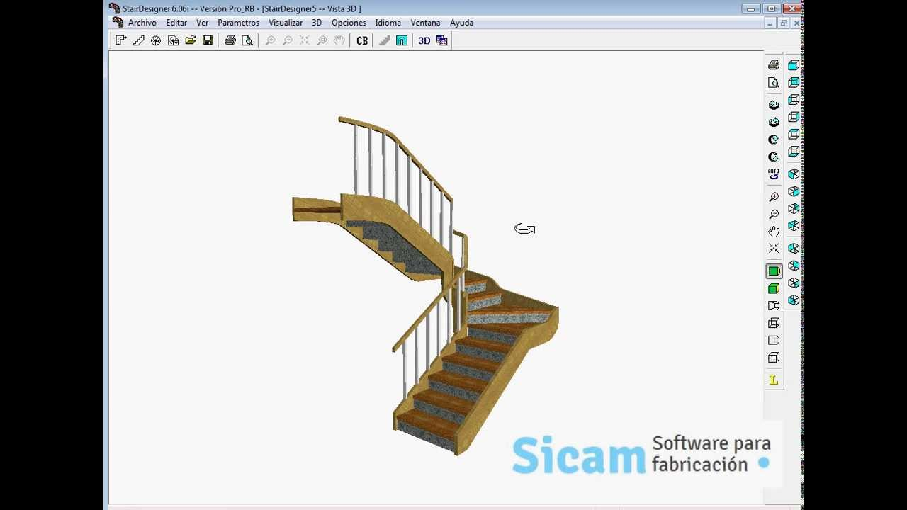 Stairdesigner escalera con dos rellanos youtube for Escaleras 3d max