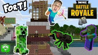 Minecraft FORTNITE FORT Build + Monsters at Night by HobbyKidsGaming