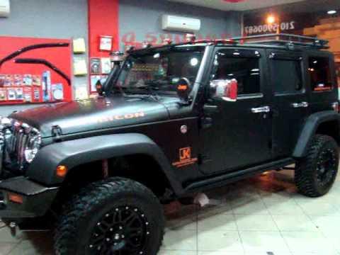 Jeep Wrangler Lifted >> CAR WRAPPING GREECE BLACK MATTE WRANGLER JK.wmv - YouTube