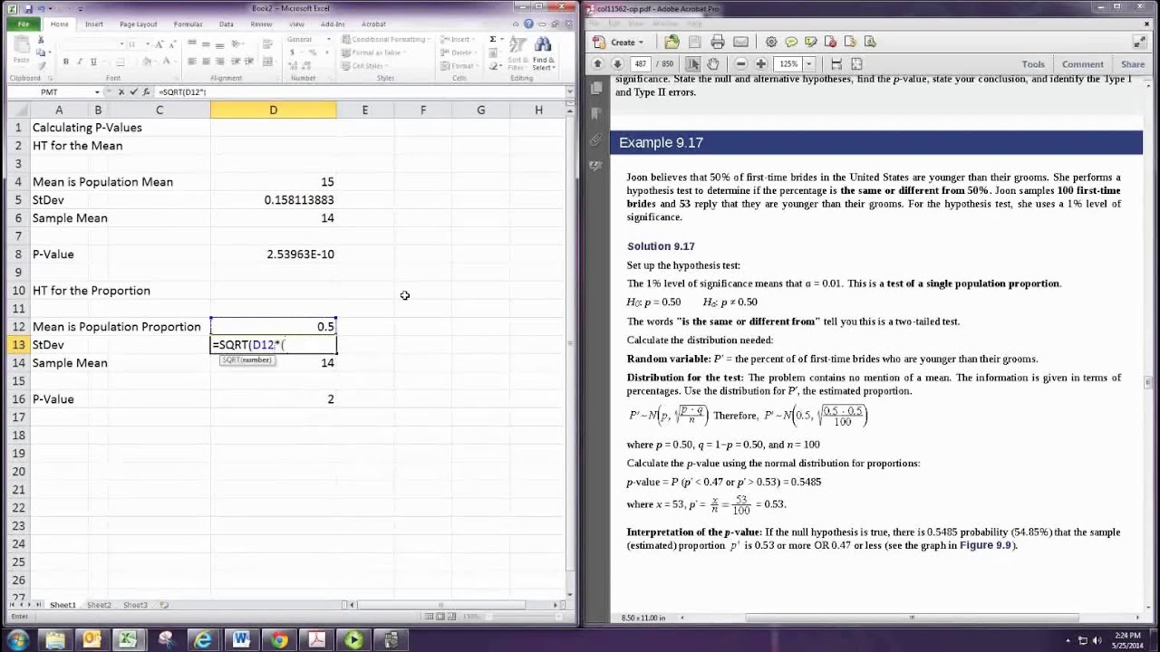 Calculating P Values Excel
