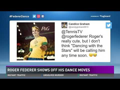 Roger Federer shows off his dance moves
