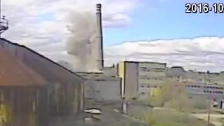 Zawalenie szczytu komina WISTOM Tomaszów Mazowiecki