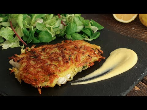 Potato Crusted Sea Bass With Lemon Sauce