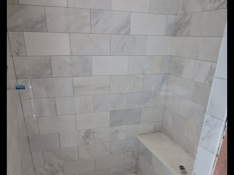 Marble Carrara Tile bathroom Part 3  close up look Installing  Carrera marble tile and bench seat