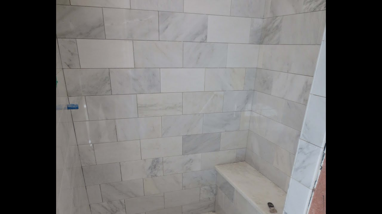 Genial Marble Carrara Tile Bathroom Part 3 Close Up Look Installing Carrera Marble  Tile And Bench Seat   YouTube