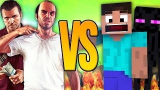 - СУПЕР РЭП БИТВА GTA VS Minecraft ГТА Против МАЙНКРАФТ