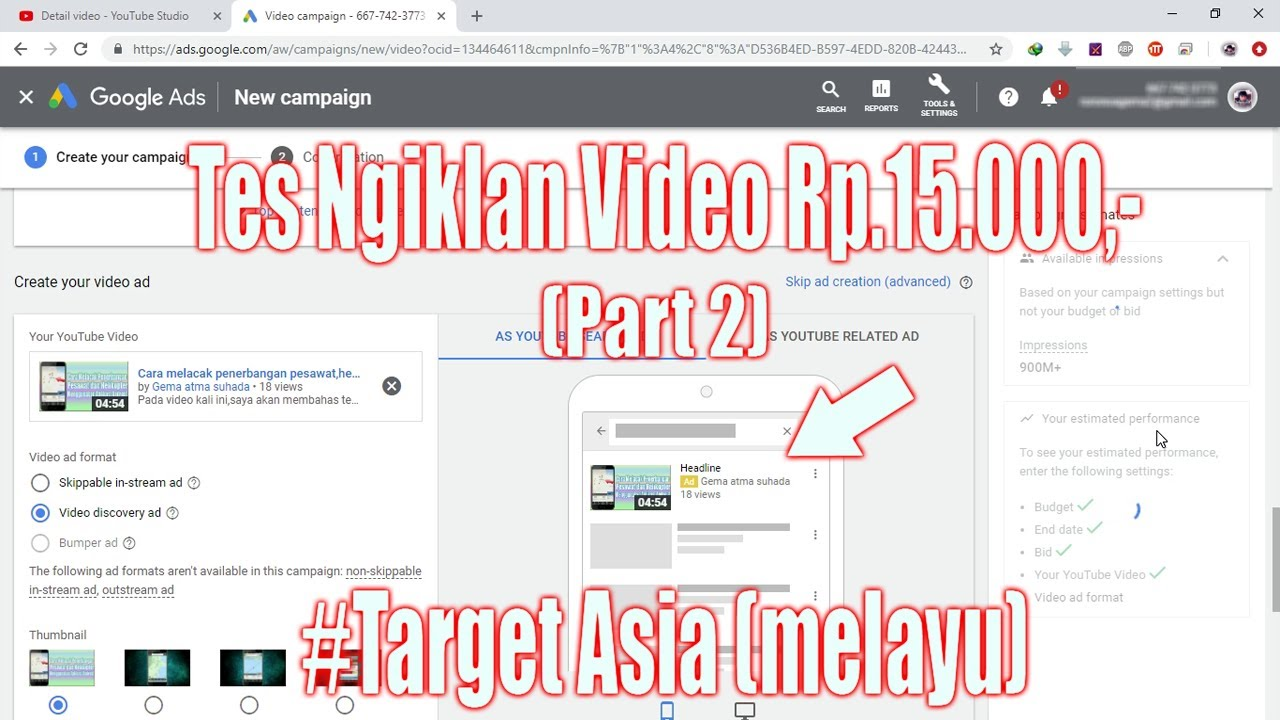 Cara Mempromosikan Video Youtube Dengan Google Ads Adwords Part 2 Email Berbeda Youtube